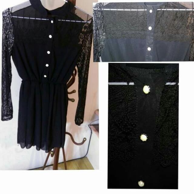 正韓 半蕾絲黑色典雅洋裝