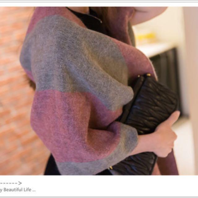 正韓 雙色塊撞色感毛料圍巾