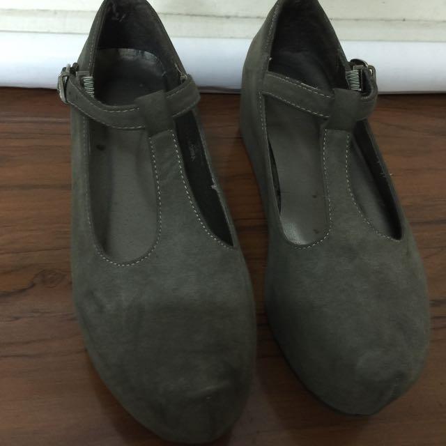 墨綠色 平底 厚底 女鞋