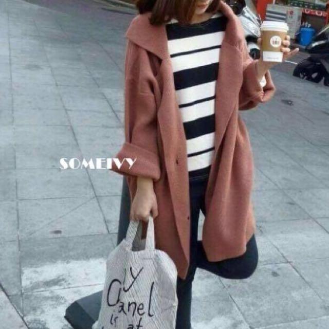 韓劇女主角羊毛翻領大衣外套 nude 好氣色外套
