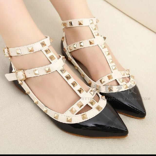 Black Flats With Studs