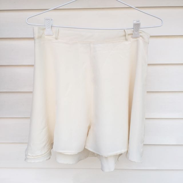 Cream Silk Flowy Shorts