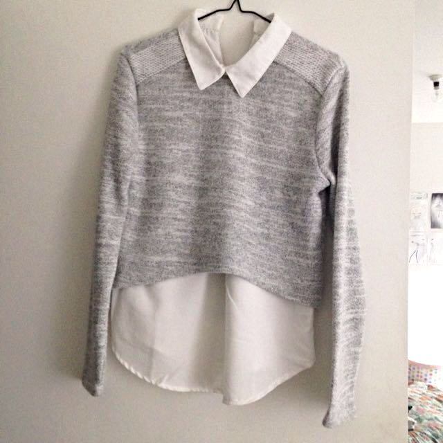 Knit Jumper With Built In Blouse