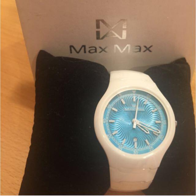 Max Max 陶瓷白藍鏡面女錶