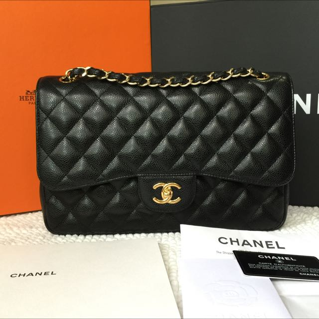 044b24c11e29 💖Most Wanted💖Chanel Jumbo Caviar GHW Double Flap #18 Full Set ...