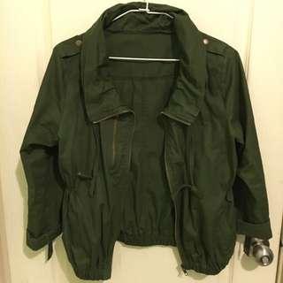墨綠短版外套