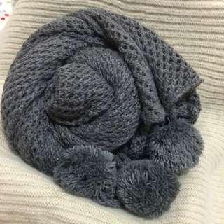 鏤空針織網狀圍巾 & 素面流蘇圍巾