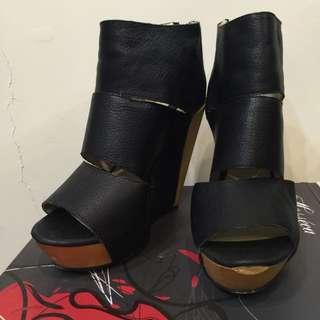 美國Messeca 黑色楔型木跟超好走鞋 尺寸8號