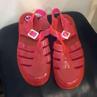 JuJu 粉紅 螢光粉紅 果凍鞋  涼鞋 UK7號