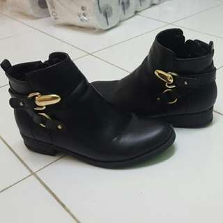 Size 6 Spurr Ankle Boots With Gold Buckle