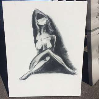 Black And White Pastel Canvas