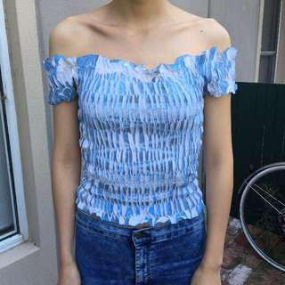 Off Shoulder Crop Top Pleated Stretchy Blue White Fits Aus 6-8