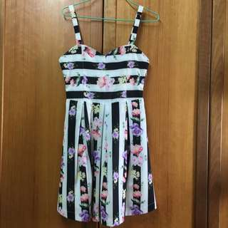 Fashmob: Striped Floral Dress In Black