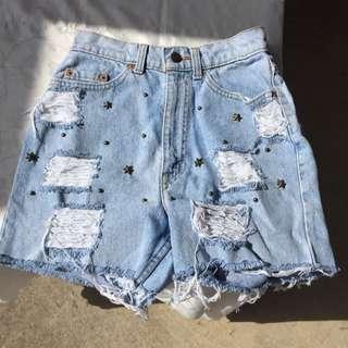 High Waisted Distressed Denim Shorts!