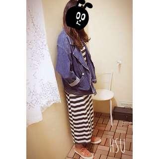 韓版度假風橫條長裙 古著