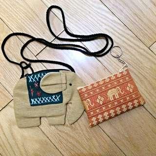 全新泰國帶回大象零錢包/隨身袋/悠遊卡套