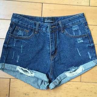 (含運)深藍牛仔高腰短褲 S