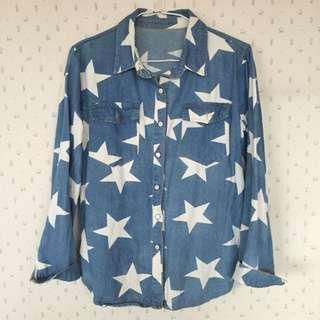 (含運)星星復古牛仔襯衫