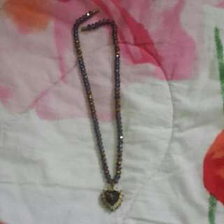 Necklace (DARK PURPLE& LOVE SHAPED LOCKET ATTACHED)