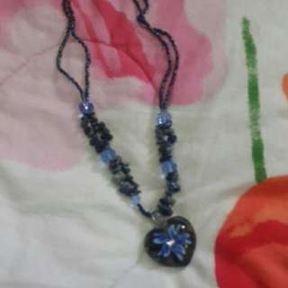 Blue-ish Crystal And Beads Neck Chain