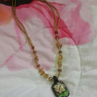 Brown Crystal And Beads (NECK CHAIN)
