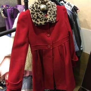 DITA毛呢大外套正紅色