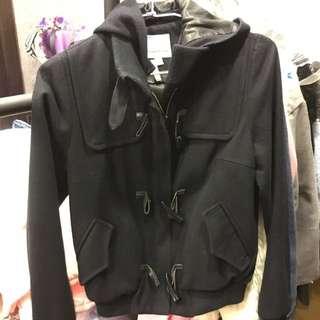 牛角釦毛呢外套