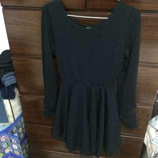 全新 黑色氣質上衣 可當洋裝