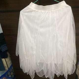 二手 白色長紗裙