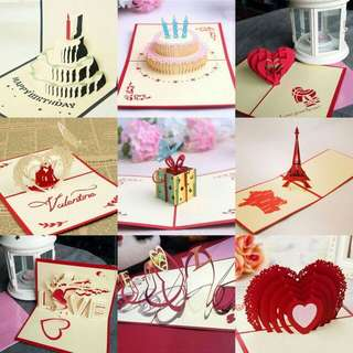 kartu 3D untuk Valentine & birthday.
