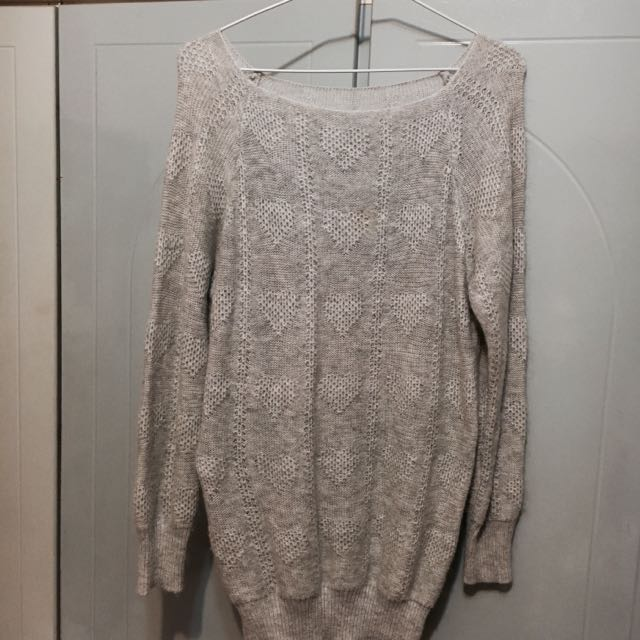 長版愛心針織毛衣