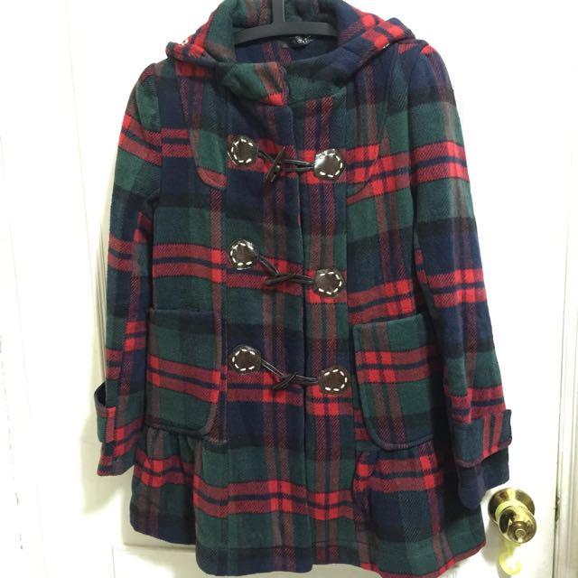 牛角扣 格子小傘狀外套