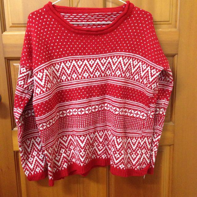 森系圖樣拼接小捲領針織上衣(紅)