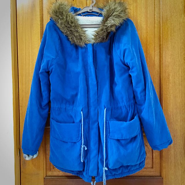 藍色厚舖棉抽腰身連帽外套