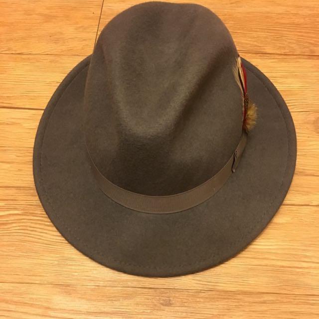 全新正版全麂皮紳士帽 限量灰色