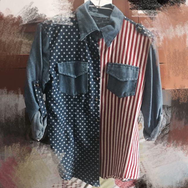 單寧 襯衫 美國國旗🇺🇸