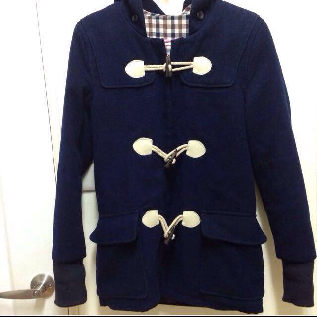 日本購回 深藍 重磅數 牛角扣 厚長版大衣