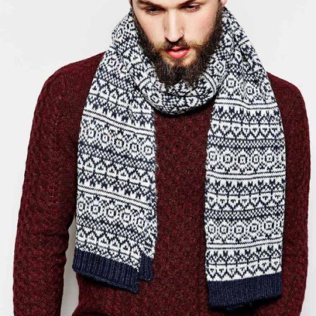英國ASOS 專櫃帶回 Fair Isle 羊毛針織圍巾 含運