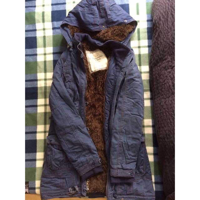 【2手】A&F 長版風衣鋪毛夾克外套
