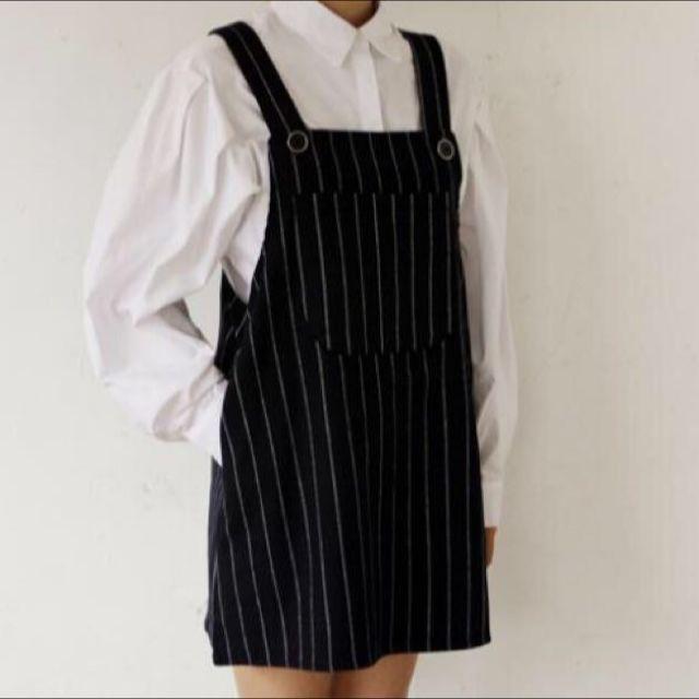 8115c97a6bd Black Pinstripe Pinafore Dress!  1212yes