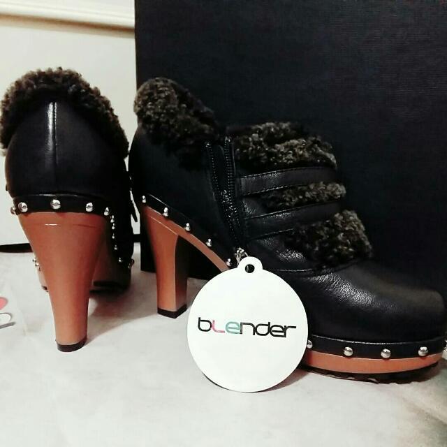 bLender 黑色鉚釘高跟女靴 女鞋 派對/春酒/舞會
