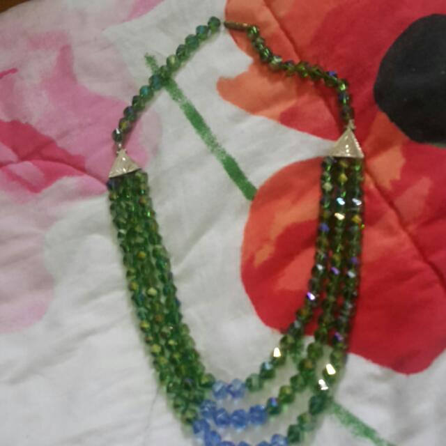 Crystal NECKLACE (green And Blue)