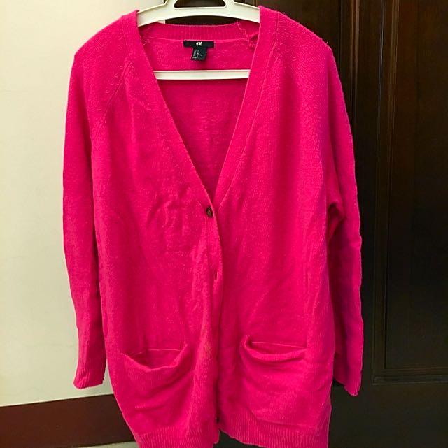 H & M 女 長版桃色針織外套 M