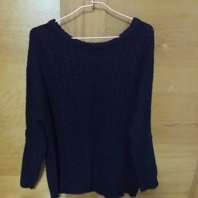 Lativ深藍色針織毛衣