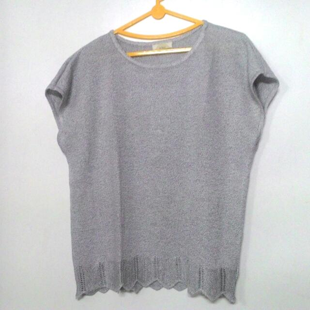 Light Grey Knit Square Top