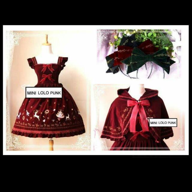 Lolita 蘿莉塔 對岸魔法茶會 聖誕刺繡………免運