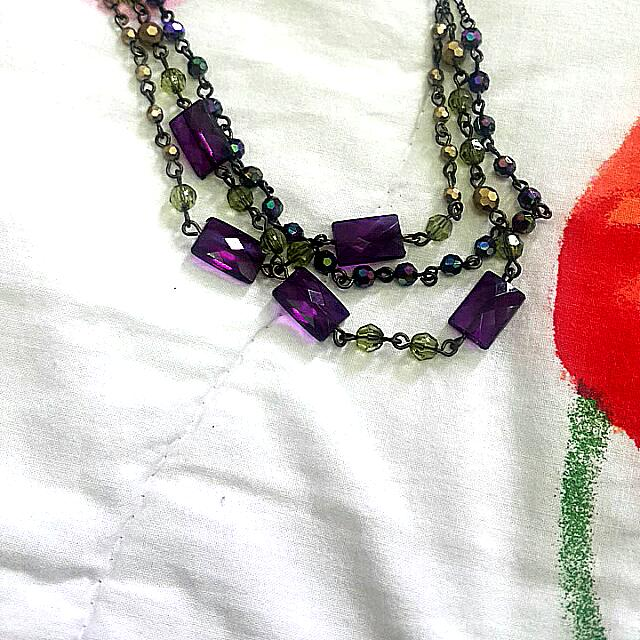 Necklace (PURPLE AND GREEN) With Earings