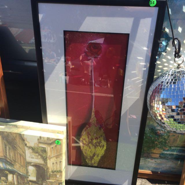Red Rose In Gold Vase Framed Painting