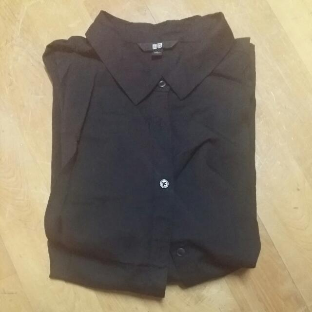 UNIQLO黑色襯衫/短袖/L號