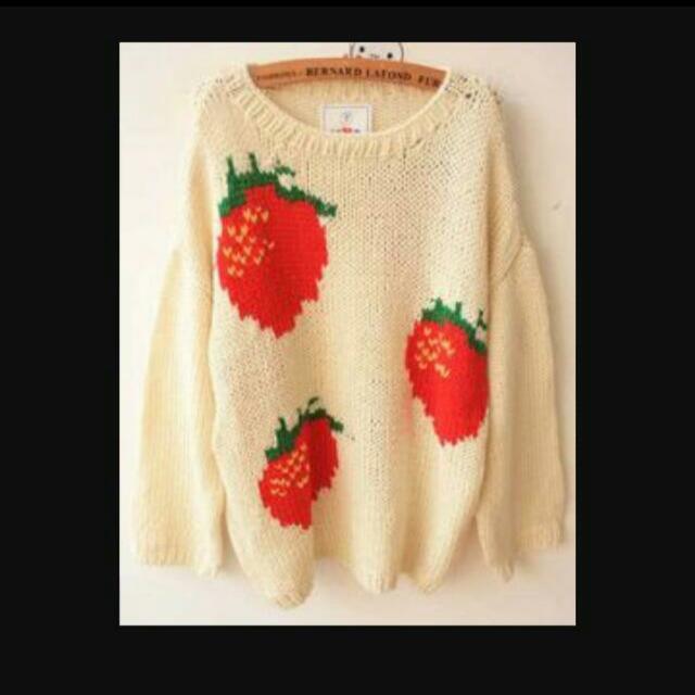 wc同款 草莓針織毛線上衣